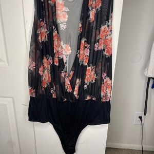 Rainbow LoveJ Black Floral Sheer Bodysuit